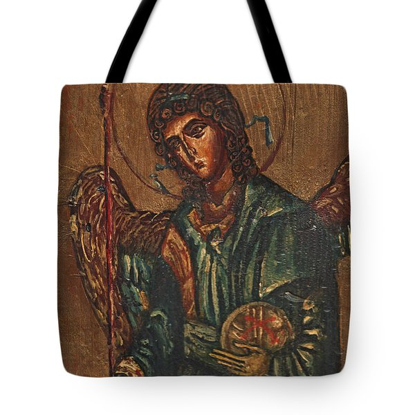 Icon Of Archangel Michael - Painting On The Wood Tote Bag by Nenad Cerovic