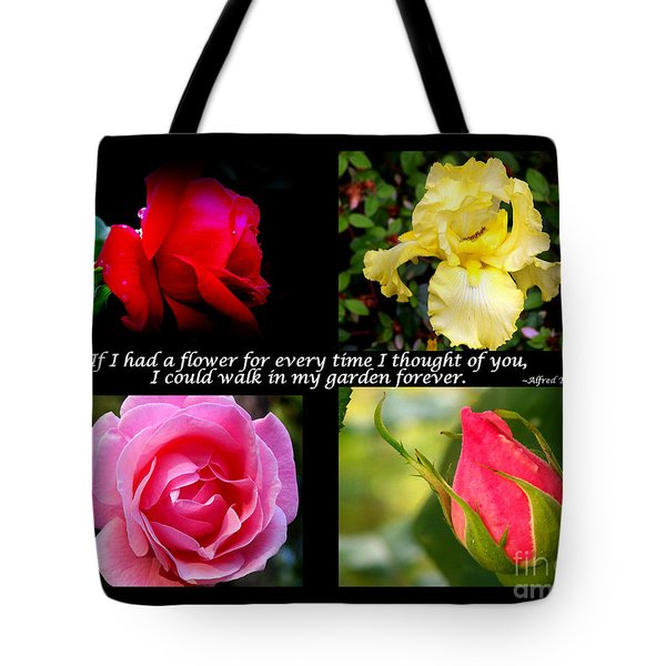 If I Had A Flower Collage Tote Bag by Kathy  White