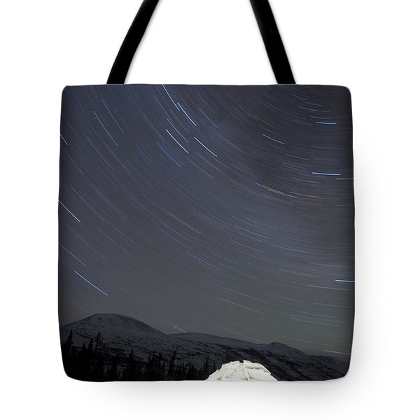 Igloo And Star Trails, Kusawa Lake Tote Bag by Peter Mather
