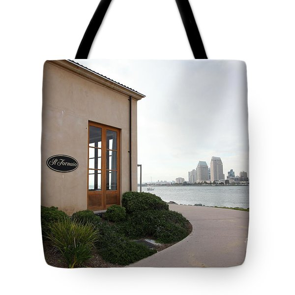 Il Fornaio Italian Restaurant In Coronado California Overlooking The San Diego Skyline 5D24364 Tote Bag by Wingsdomain Art and Photography