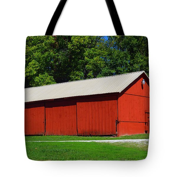 Illinois Red Barn Tote Bag by Luther   Fine Art
