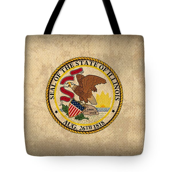 Illinois State Flag Art On Worn Canvas Tote Bag by Design Turnpike