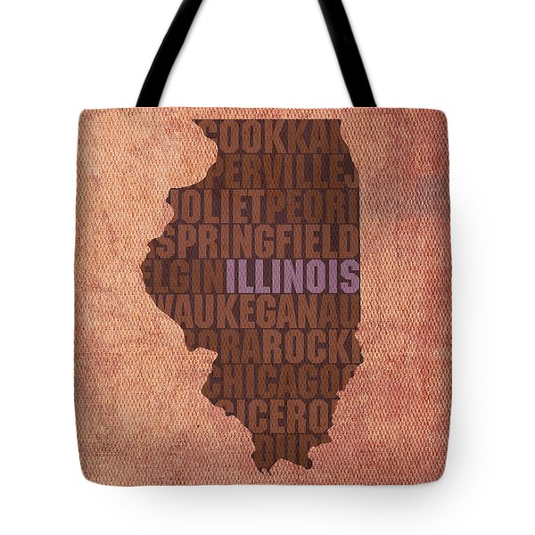 Illinois State Word Art On Canvas Tote Bag by Design Turnpike