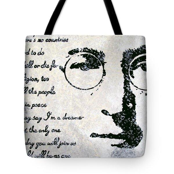 Imagine-John Lennon Tote Bag by Bryan Dubreuiel