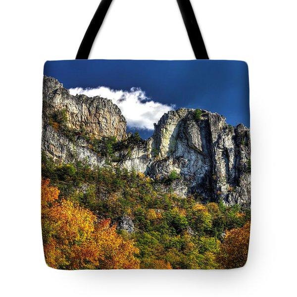 Imposing Seneca Rocks - Seneca Rocks National Recreation Area Wv Autumn Mid-afternoon Tote Bag by Michael Mazaika