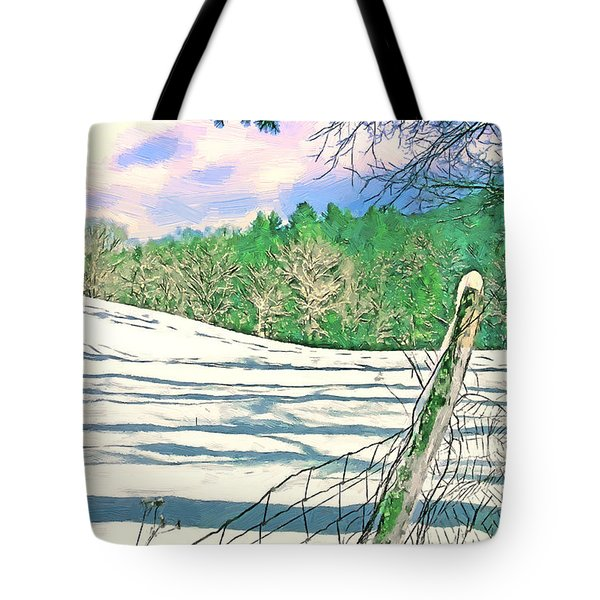 Impressions Of A Snow Covered Farm Tote Bag by John Haldane