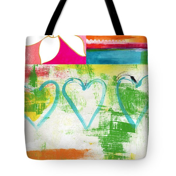 In Bloom- colorful heart and flower art Tote Bag by Linda Woods
