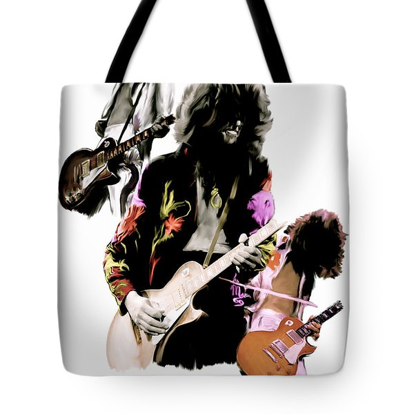 In Flight Iv Jimmy Page  Tote Bag by Iconic Images Art Gallery David Pucciarelli
