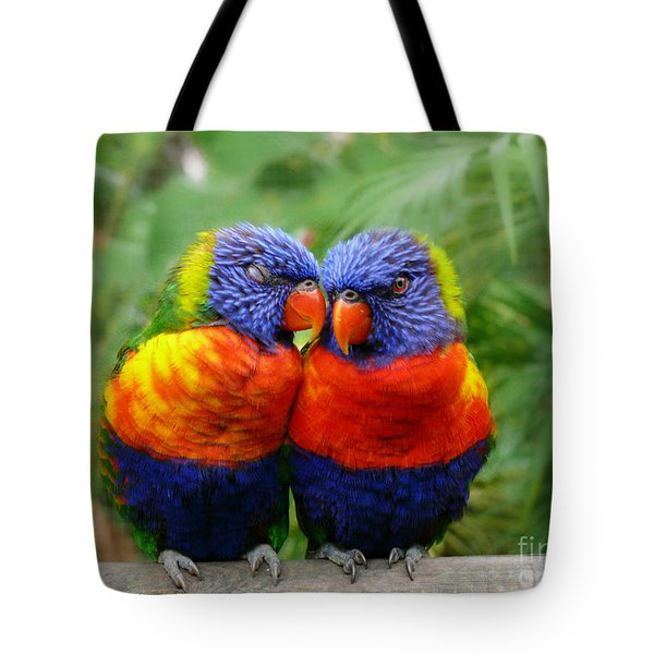 In Love Lorikeets Tote Bag by Peggy  Franz