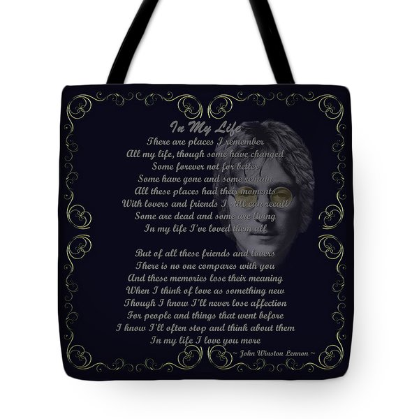 In My Life Golden Scroll Tote Bag by Movie Poster Prints