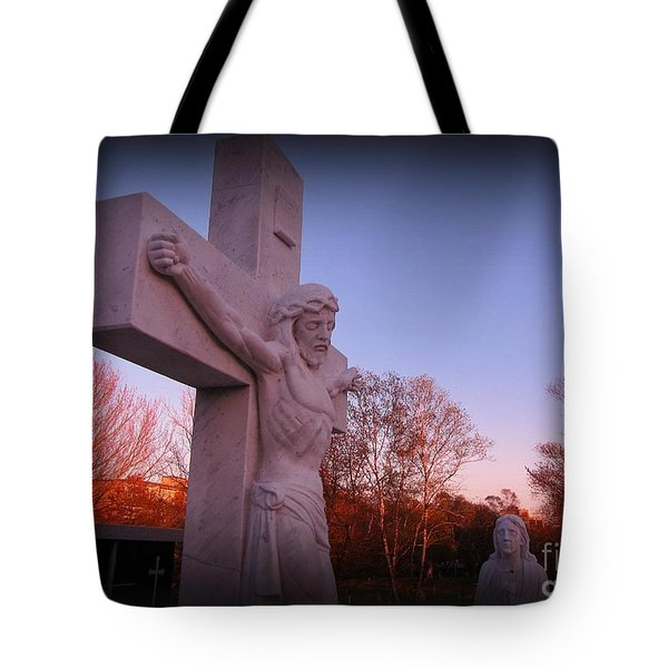 In Sacrifice Is Peace Tote Bag by John Malone