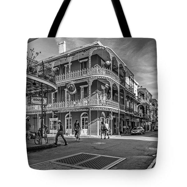 In The French Quarter Monochrome Tote Bag by Steve Harrington