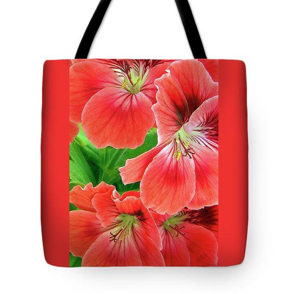 In The Garden. Geranium Tote Bag by Ben and Raisa Gertsberg