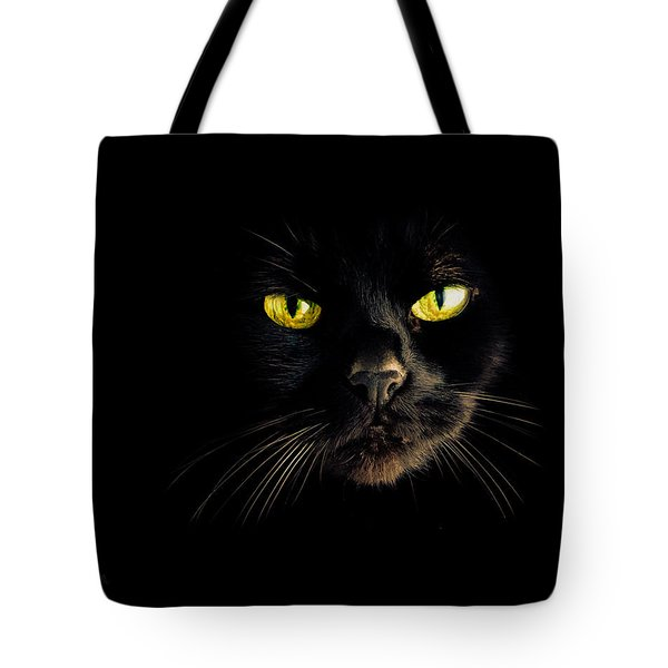 In the shadows One Black Cat Tote Bag by Bob Orsillo