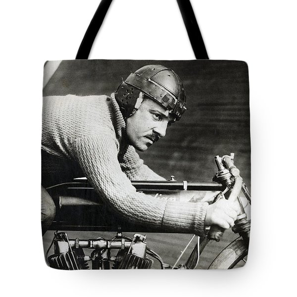 In The Wind On An Indian Motorcycle - 1913 Tote Bag by Daniel Hagerman
