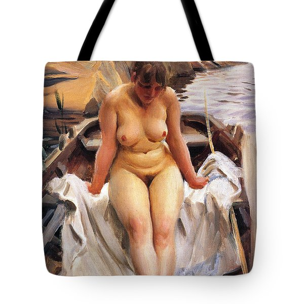 In Werners Rowing Boat Tote Bag by Anders Zorn
