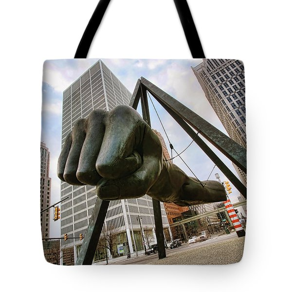 In Your Face -  Joe Louis Fist Statue - Detroit Michigan Tote Bag by Gordon Dean II