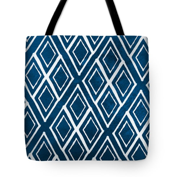 Indgo and White Diamonds Large Tote Bag by Linda Woods