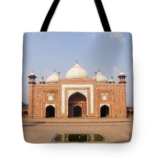 India, Next To Taj Mahal Agra, Taj Tote Bag by Bill Bachmann