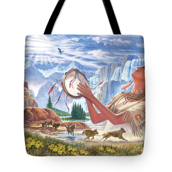 Indian Squaw And The Wolves Tote Bag by Steve Crisp