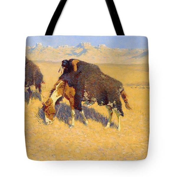 Indians Simulating Buffalo Tote Bag by Fredrick Remington
