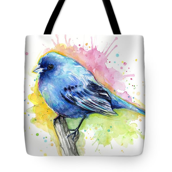 Indigo Bunting Blue Bird Watercolor Tote Bag by Olga Shvartsur