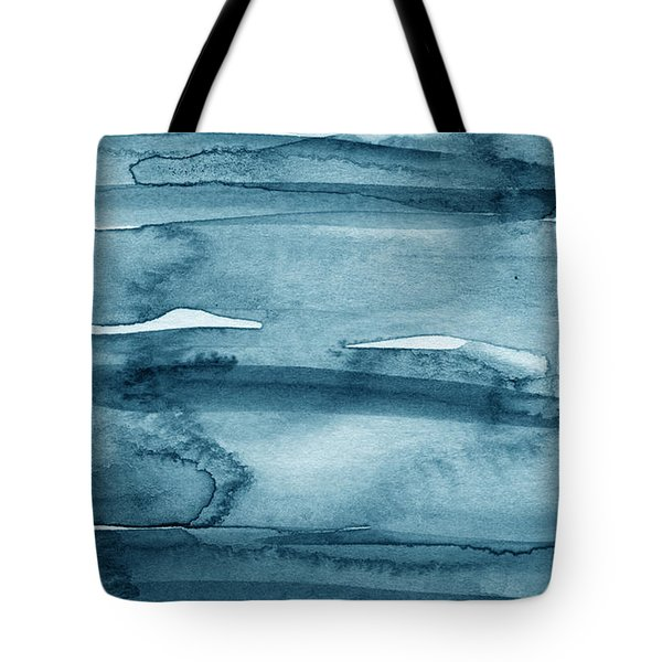 Indigo Water- Abstract Painting Tote Bag by Linda Woods