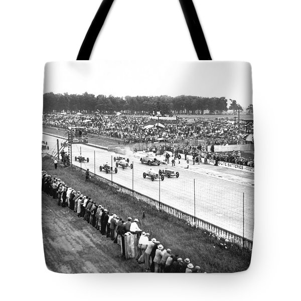 Indy 500 Auto Race Tote Bag by Underwood Archives