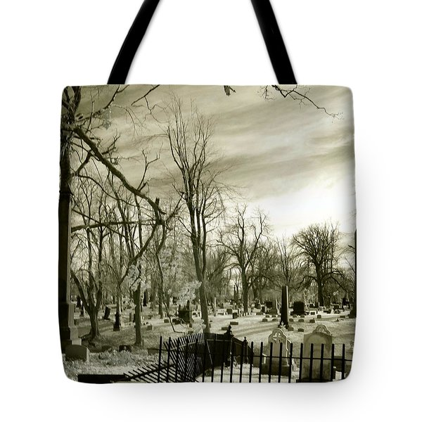 Infrared Cemetery Tote Bag by Gothicolors Donna Snyder
