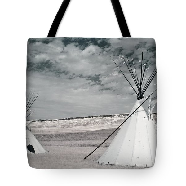 Infrared Image Of Native American Tipis Tote Bag by Roberta Murray