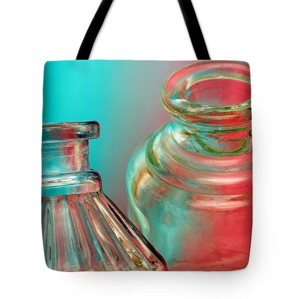 Ink Bottles on Color Tote Bag by Carol Leigh
