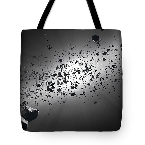 Inside the Asteroid Belt against the sun Tote Bag by Johan Swanepoel