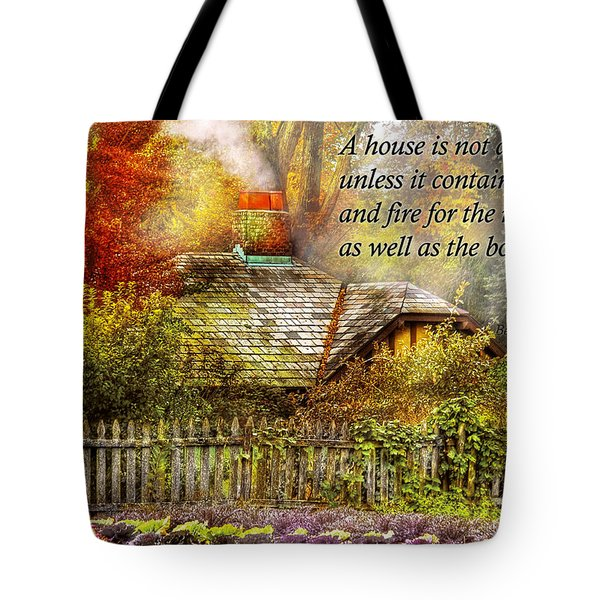 Inspirational - Home is where it's warm inside - Ben Franklin Tote Bag by Mike Savad