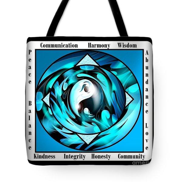 Inspirational Yin Yang  Tote Bag by Bobbee Rickard