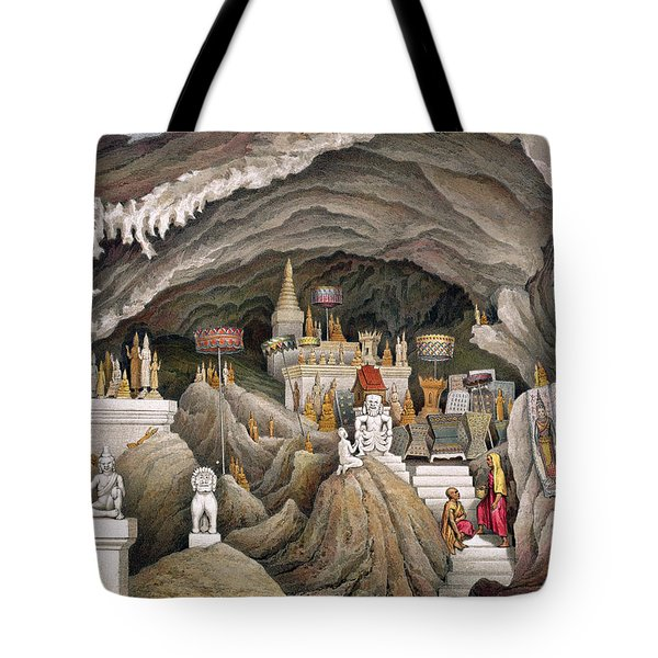 Interior Of The Grotto Of Nam Hou Tote Bag by Louis Delaporte