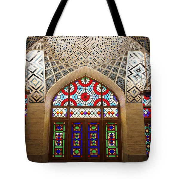 Interior Of The Winter Prayer Hall Of The Nazir Ul Mulk Mosque In Shiraz Iran Tote Bag by Robert Preston