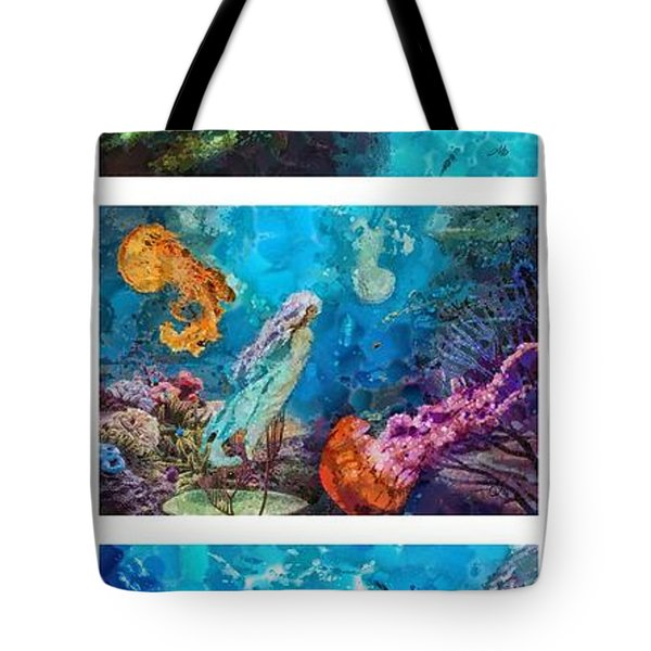 Into Deep Triptic Tote Bag by Mo T