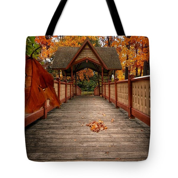 Into the autumn Tote Bag by Lourry Legarde