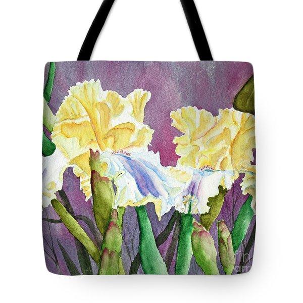 Iris Cream Duo Tote Bag by Kathryn Duncan