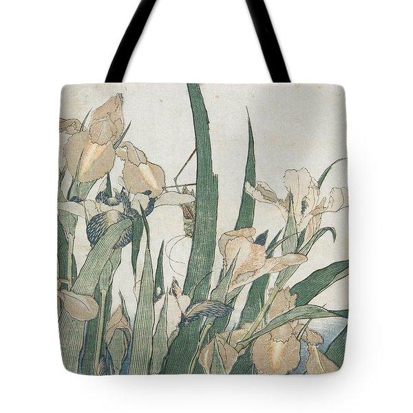Iris Flowers And Grasshopper Tote Bag by Hokusai