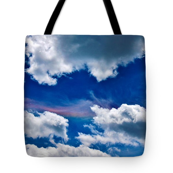 Irridescent Rainbows Among The Clouds Tote Bag by Janice Rae Pariza