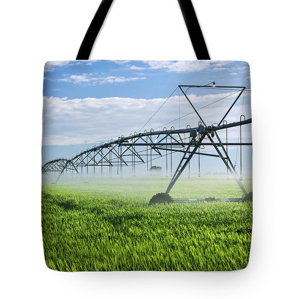 Irrigation Equipment On Farm Field Tote Bag by Elena Elisseeva