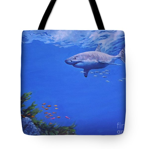 Pacific Great White Tote Bag by Noe Peralez