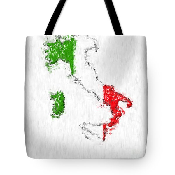 Italy Painted Flag Map Tote Bag by Antony McAulay