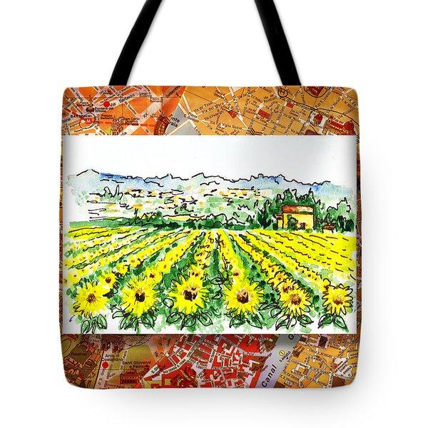 Italy Sketches Sunflowers Of Tuscany Tote Bag by Irina Sztukowski