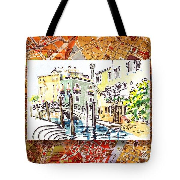 Italy Sketches Venice Canale Tote Bag by Irina Sztukowski