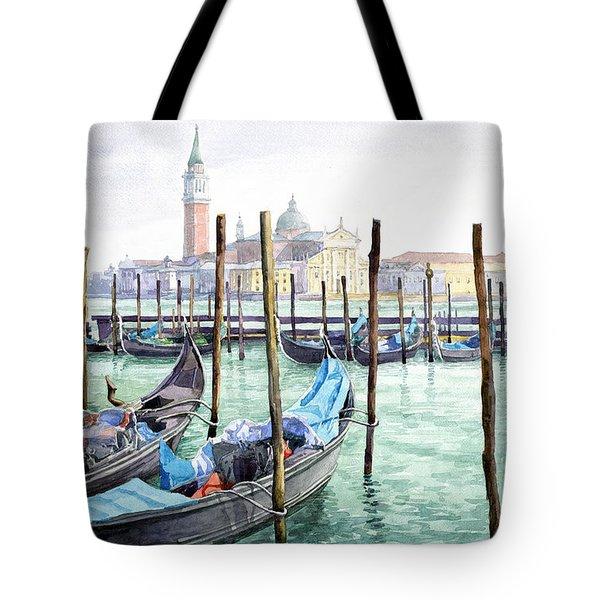 Italy Venice Gondolas Parked Tote Bag by Yuriy Shevchuk