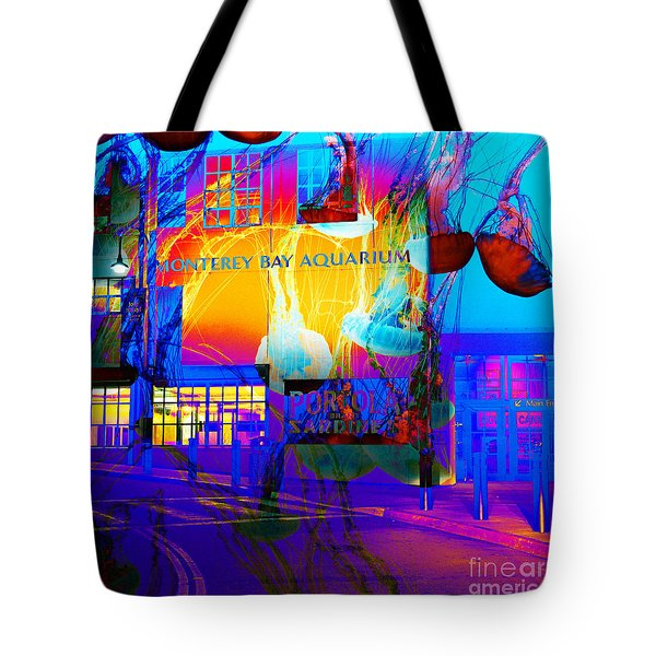 Its Raining Jelly Fish At The Monterey Bay Aquarium 5D25177 Square Tote Bag by Wingsdomain Art and Photography