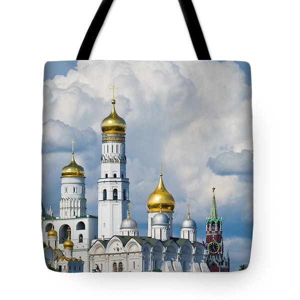 Ivan The Great Bell Tower Of Moscow Kremlin - Featured 3 Tote Bag by Alexander Senin