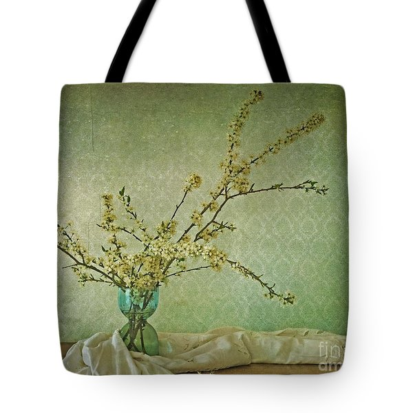 Ivory And Turquoise Tote Bag by Priska Wettstein